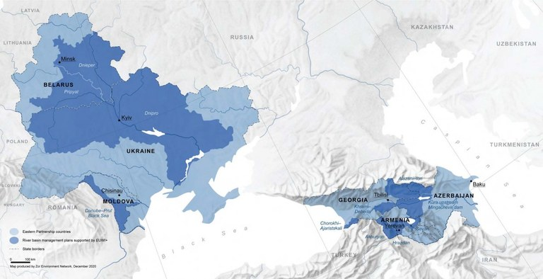 EUWI+ project - Map of the pilot river basins in the 6 Eastern Partnership Countries – source: the International Office for Water in France, OiEau