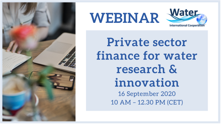 Water JPI Webinar on private sector finance for water research & innovation
